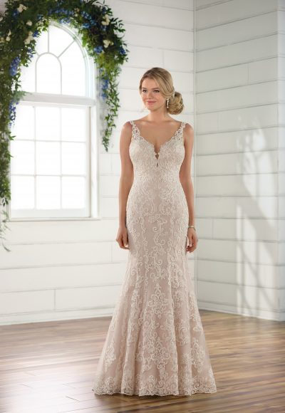 Sleeveless all over lace v-neckline fit and flare wedding dress by Essense of Australia
