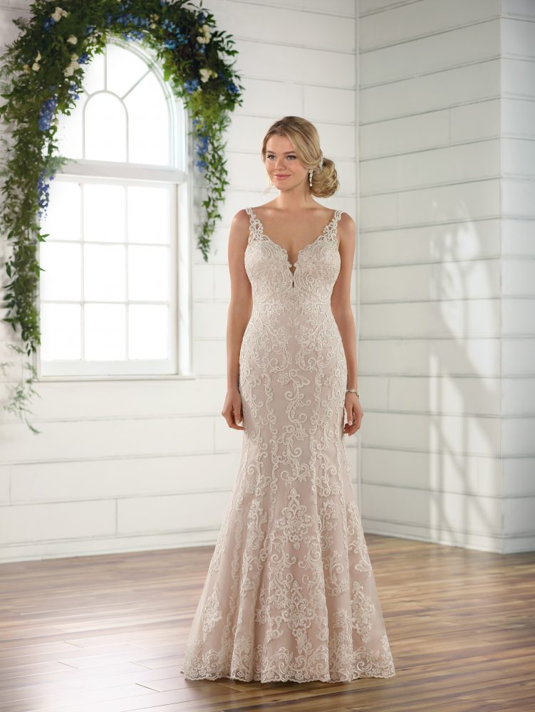 Sleeveless all over lace v-neckline fit and flare wedding dress by Essense of Australia - Image 1