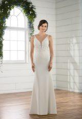 Sleeveless crepe sheath v-neck wedding dress by Essense of Australia - Image 1