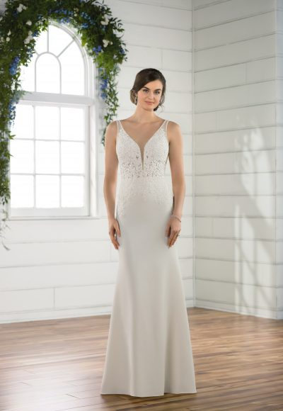 Sleeveless crepe sheath v-neck wedding dress by Essense of Australia
