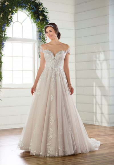 Off-the-shoulder cap sleeve ballgown wedding dress with 3D floral appliques and lace by Essense of Australia