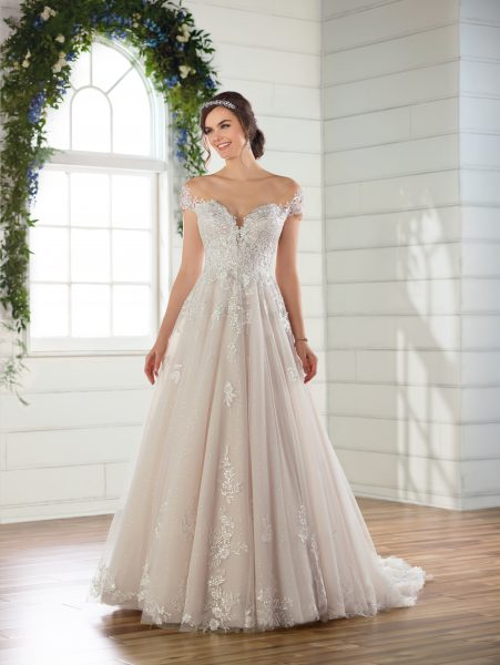 Off-the-shoulder cap sleeve ballgown wedding dress with 3D floral appliques and lace by Essense of Australia - Image 1