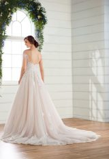 Off-the-shoulder cap sleeve ballgown wedding dress with 3D floral appliques and lace by Essense of Australia - Image 2