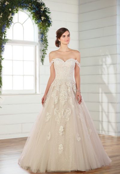 Lace ballgown with off the shoulder straps by Essense of Australia