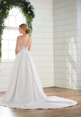 Sleeveless v-neckline ballgown with beaded and embroidered bodice and satin skirt by Essense of Australia - Image 2