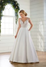 Sleeveless v-neckline ballgown with beaded and embroidered bodice and satin skirt by Essense of Australia - Image 1