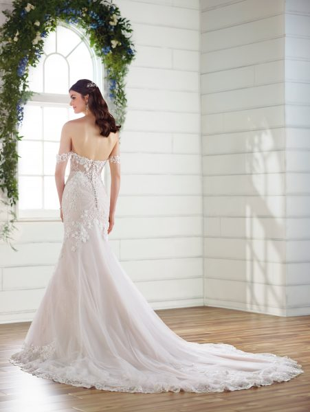 Off the shoulder floral embroidered wedding dress by Essense of Australia - Image 2