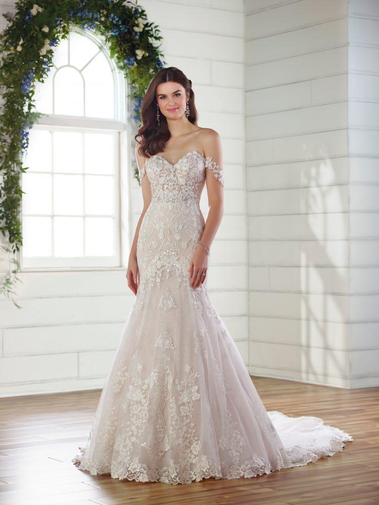 Off the shoulder floral embroidered wedding dress by Essense of Australia - Image 1