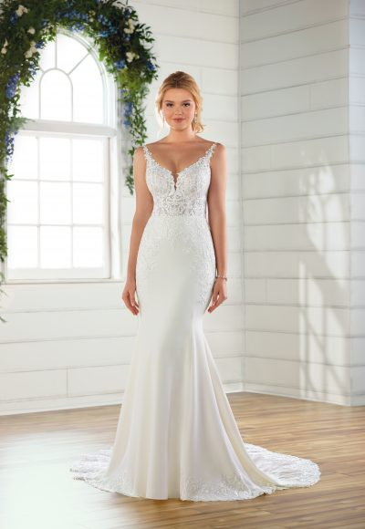 V-neck crepe wedding dress by Essense of Australia