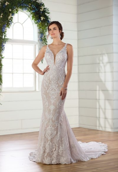 V-neck lace fit and flare wedding dress by Essense of Australia