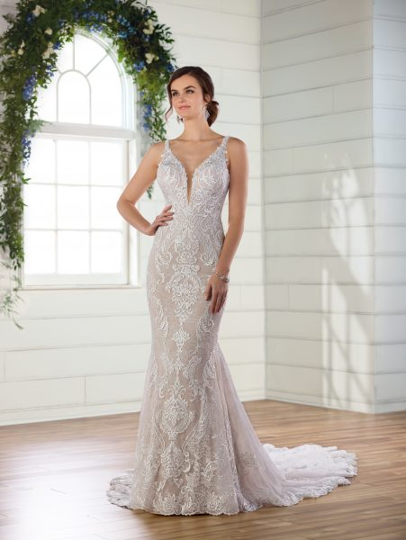 V-neck lace fit and flare wedding dress by Essense of Australia - Image 1