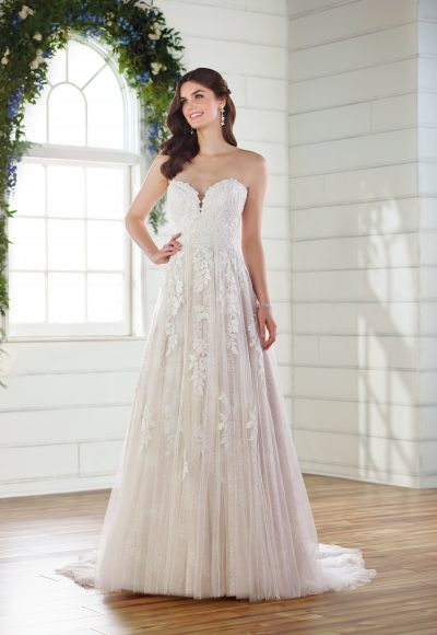 Strapless sweetheart A-line wedding dress by Essense of Australia