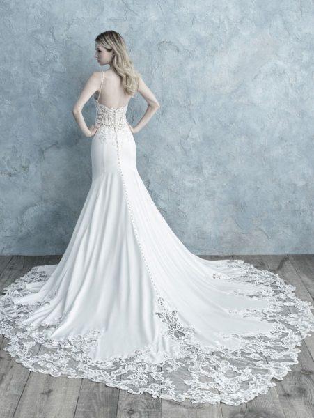 Spaghetti Strap Sheath Wedding Dress by Allure Bridals - Image 2