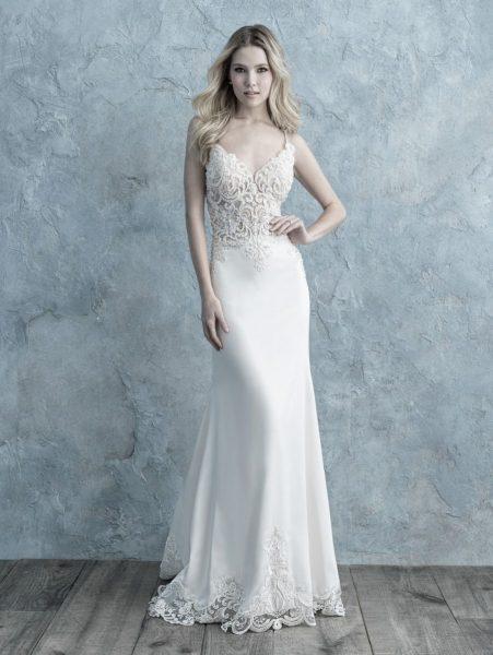 Spaghetti Strap Sheath Wedding Dress by Allure Bridals - Image 1