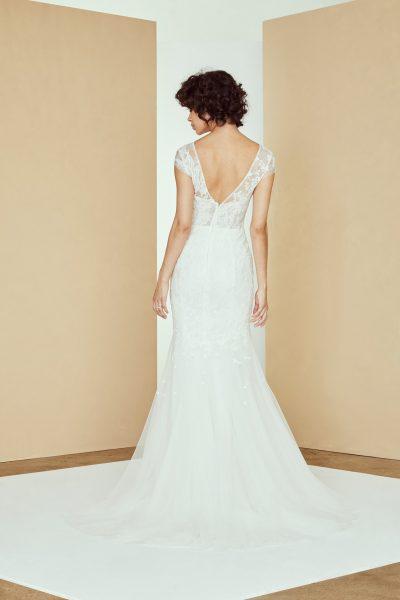 Cap Sleeve V-neck Lace Wedding Dress by Amsale - Image 2