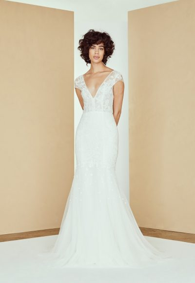Cap Sleeve V-neck Lace Wedding Dress by Amsale