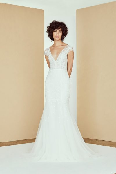 Cap Sleeve V-neck Lace Wedding Dress by Amsale - Image 1