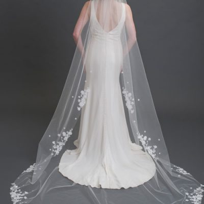 1-tier Cut Edge Cathedral Veil With Dimensional Lace Flowers by Bel Aire Bridal