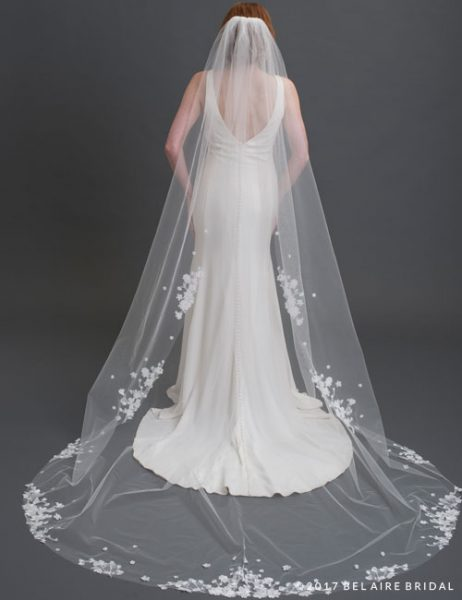 1-tier Cut Edge Cathedral Veil With Dimensional Lace Flowers by Bel Aire Bridal - Image 1