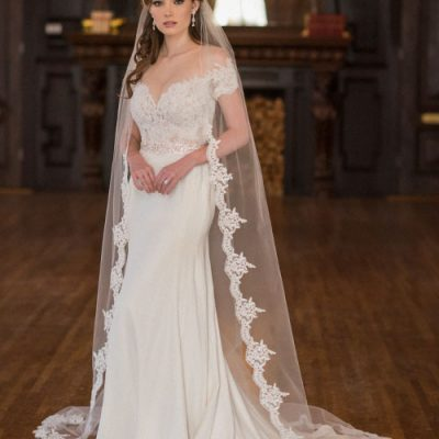 Alençon Lace And Rolled Edge Cathedral Veil by Bel Aire Bridal