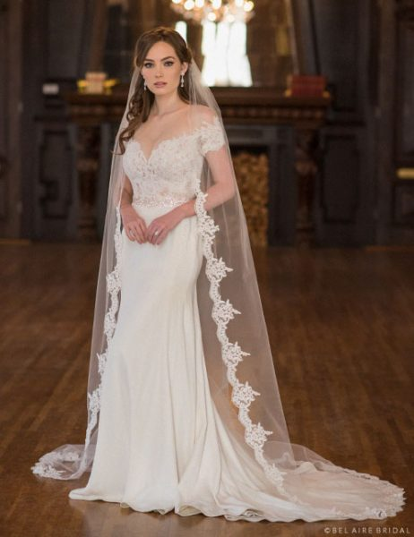 Alençon Lace And Rolled Edge Cathedral Veil by Bel Aire Bridal - Image 1