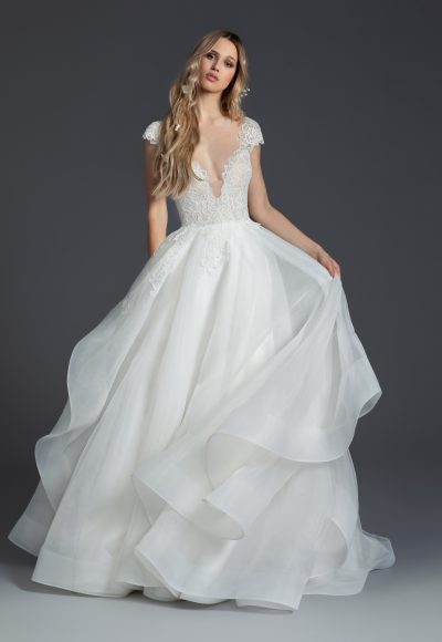 Cap Sleeve Ball Gown by BLUSH by Hayley Paige