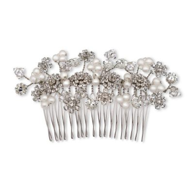 Pearl And Floral Comb by Ellen Hunter