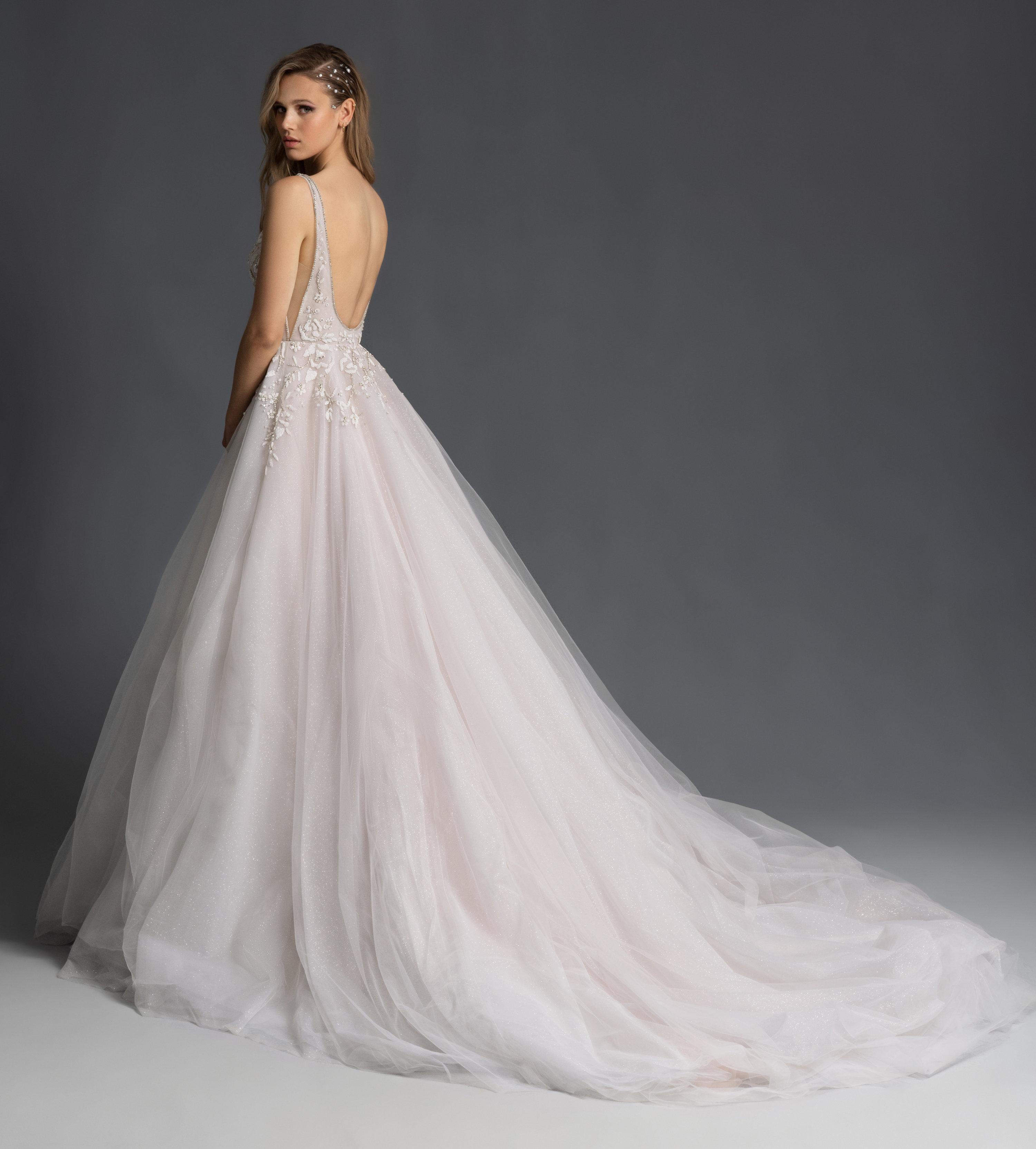 Beaded A Line V-neck Sparkle Wedidng Dress
