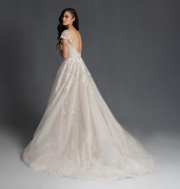 Cap Sleeve Embroidered A-line Wedding Dress by Hayley Paige - Image 2