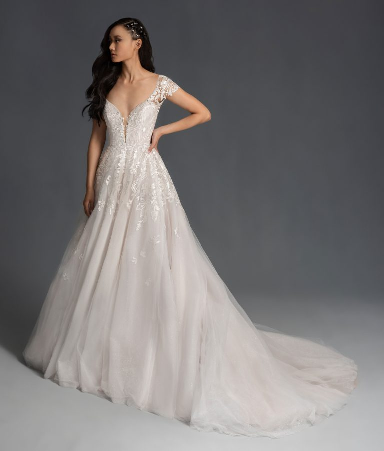 Cap Sleeve Embroidered A-line Wedding Dress by Hayley Paige - Image 1