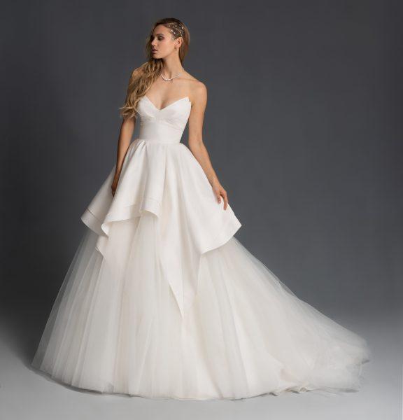 Tulle Strapless Tiered Ball Gown Wedding Dress