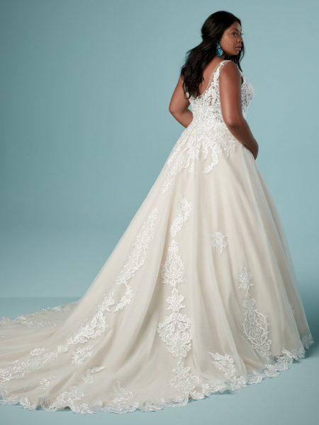 Lace Sleeveless V-neck Tulle Ball Gown Wedding Dress by Maggie Sottero - Image 2