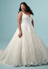 Lace Sleeveless V-neck Tulle Ball Gown Wedding Dress by Maggie Sottero - Image 1