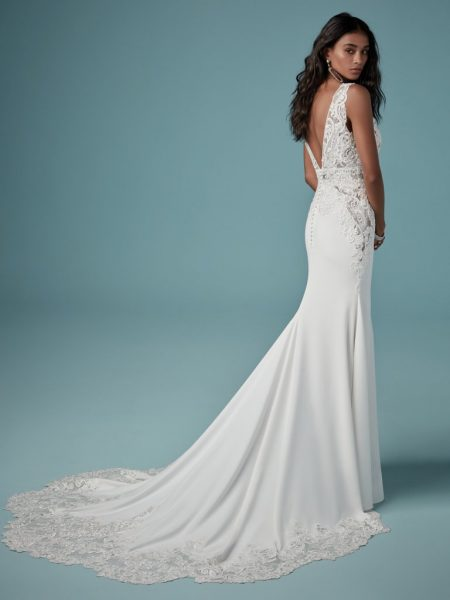 Sheath Lace V-neck Wedding Dress by Maggie Sottero - Image 2