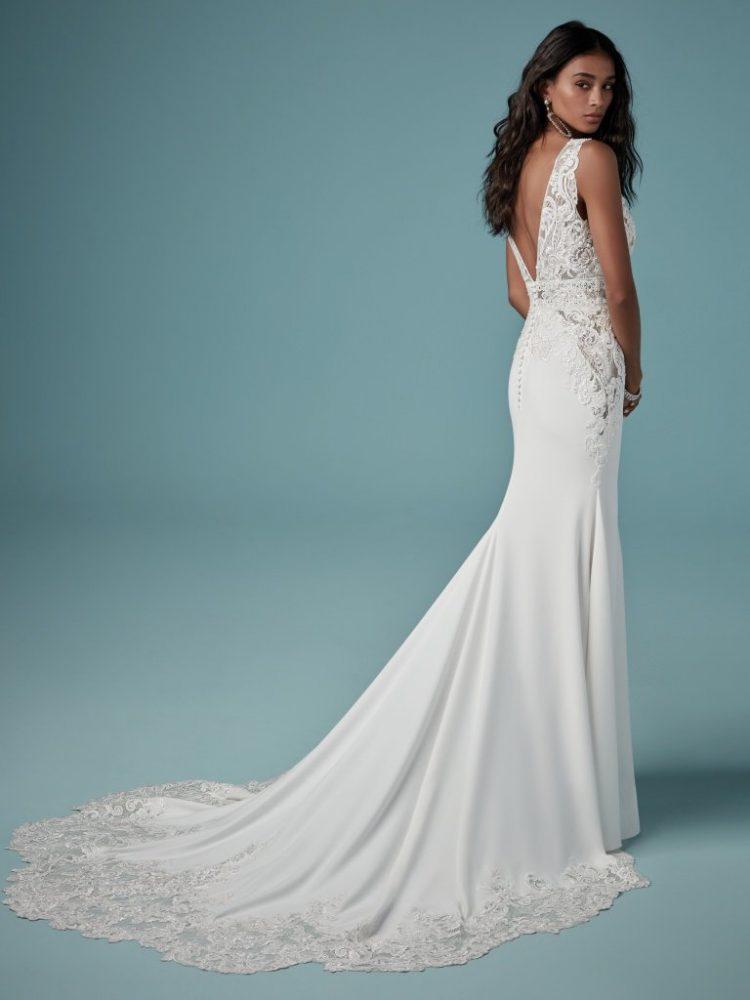 Sheath Lace V-neck Wedding Dress by Maggie Sottero - Image 2