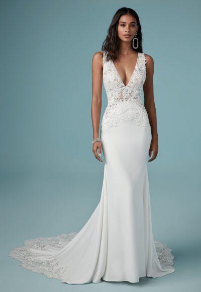Sheath Lace V-neck Wedding Dress by Maggie Sottero