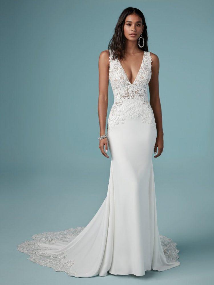 Sheath Lace V-neck Wedding Dress by Maggie Sottero - Image 1