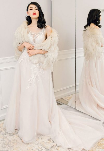 Illusion Neckline A-line Wedding Dress With Beaded Belt by Michelle Roth