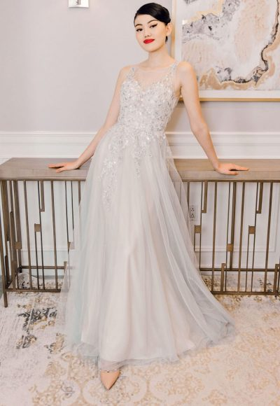 Illusion Neckline A-line Wedding Dress With Tulle Skirt by Michelle Roth