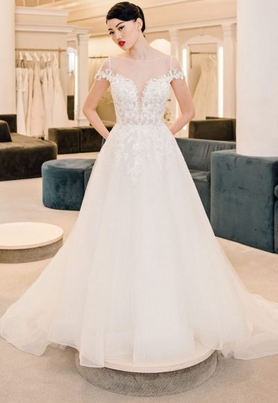 Illusion Neckline Beaded And Embroidered A-line Wedding Dress With Tulle Skirt by Michelle Roth