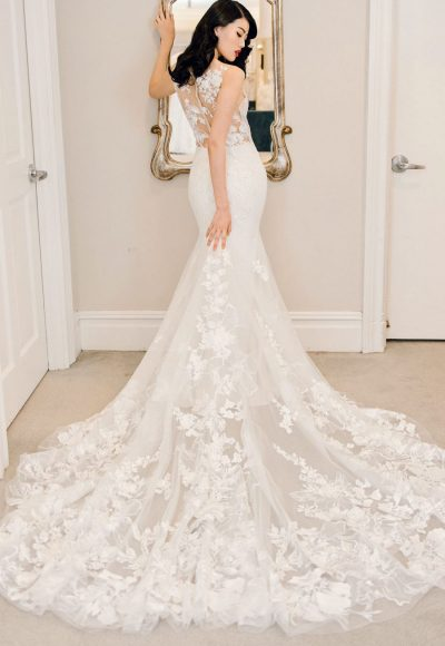 Illusion Neckline Floral Embroidered Crepe Fit And Flare Wedding Dress by Michelle Roth