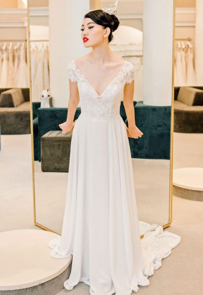 Lace Cap Sleeve Chiffon Skirt Wedding Dress by Michelle Roth