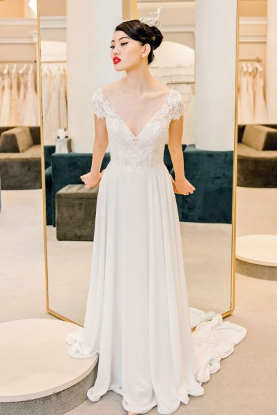 Lace Cap Sleeve Chiffon Skirt Wedding Dress by Michelle Roth - Image 1