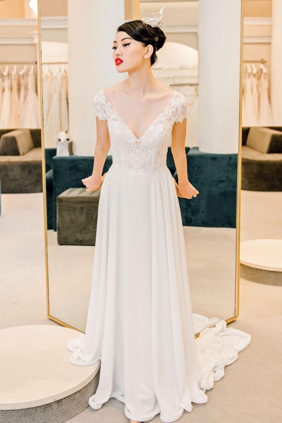 Lace Cap Sleeve Chiffon Skirt Wedding Dress Kleinfeld Bridal,Non Traditional Wedding Dress Colors