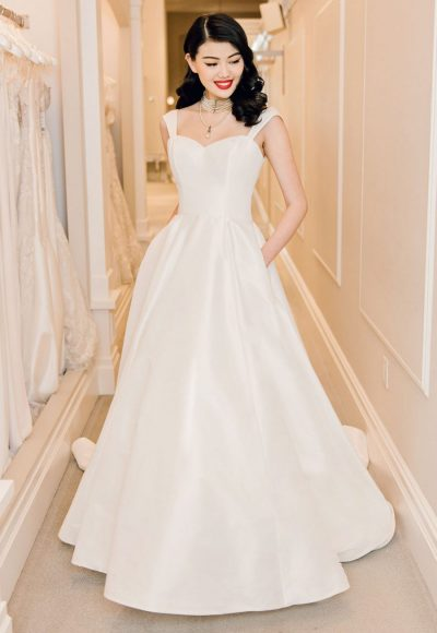 Sleeveless Sweetheart Neckline Satin A-line Wedding Dress by Michelle Roth