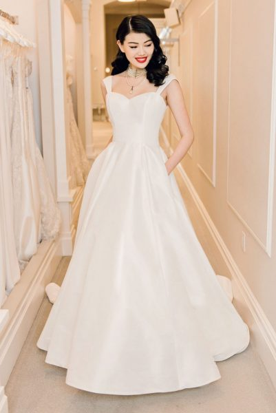 Sleeveless Sweetheart Neckline Satin A-line Wedding Dress by Michelle Roth - Image 1
