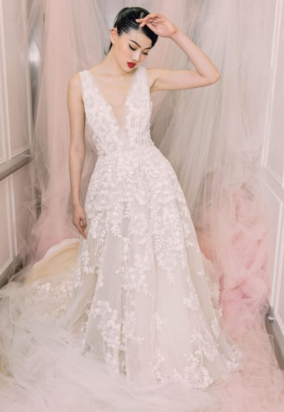 Sleeveless V-neck Beaded And Embroidered Lace Wedding Dress by Michelle Roth