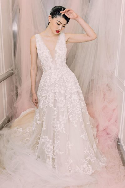 Sleeveless V-neck Beaded And Embroidered Lace Wedding Dress by Michelle Roth - Image 1