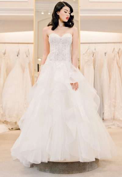 Strapless Sweetheart Lace Bodice A-line Wedding Dress With Ruffle Skirt by Michelle Roth