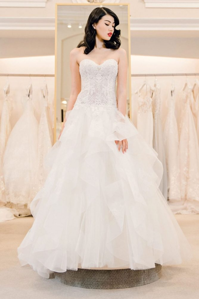 Strapless Sweetheart Lace Bodice A-line Wedding Dress With Ruffle Skirt by Michelle Roth - Image 1